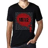 Photo de Homme T Shirt Graphique Imprimé Vintage Col V Tee Thoughts Mirage Noir Profond