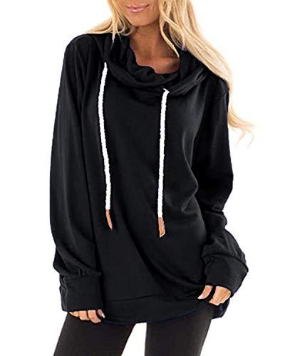 Auxo Felpa Donna con Cappuccio a Manica Lunga Inverno Maglione Ragazza Collo Alto Pullover Solid Hoodies Tops 03-Nero