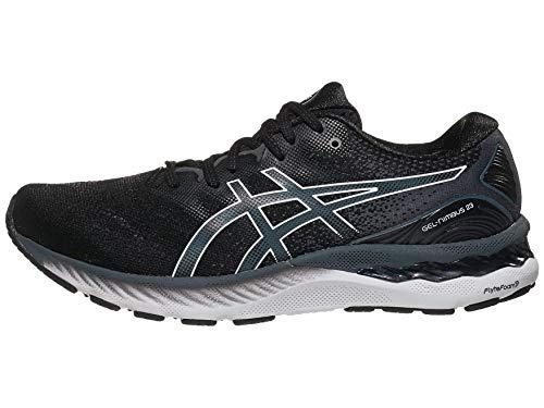 ASICS Men's Gel-Nimbus 23 Running Shoes, 12, Black/White