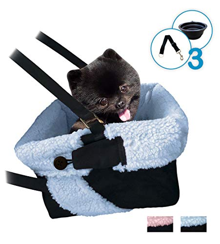 Blue & Black Car Booster Seat + Plush Blanket + Collapsible Dish for Small Dogs, Puppies, and Pets