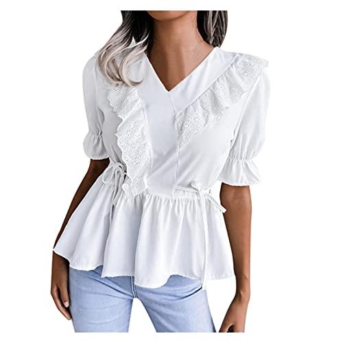 XUNN Camicetta da donna a maniche lunghe, in chiffon, con colletto angolare, tinta unita, motivo floreale rotto, B-bianco, XXL