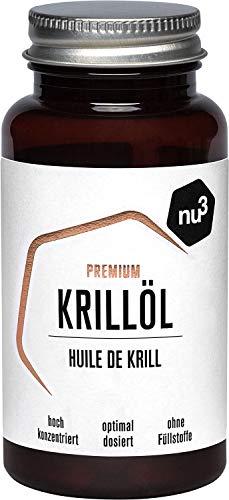 nu3 Olio di Krill Antartico Premium 60 Capsule - 320 mg Acidi Grassi Omega 3 Essenziali per Porzione + 590 mg Olio di Krill di Alta Qualità per Capsula - Integratore EPA DHA Senza Retrogusto di Pesce