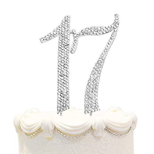 Hatcher lee Bling Crystal Rhinestone 17 Birthday Cake Topper - Best Keepsake | 17th Party Decorations Silver