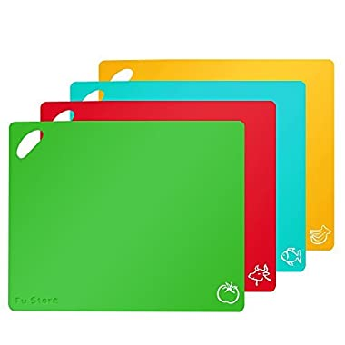 Fu Store Extra Thick Flexible Plastic Kitchen Cutting Board Mats Set, Set of 4 Colored Mats Food Icons & Easy-Grip Handles, BPA-FREE & FDA APPROVED, Non-Porous
