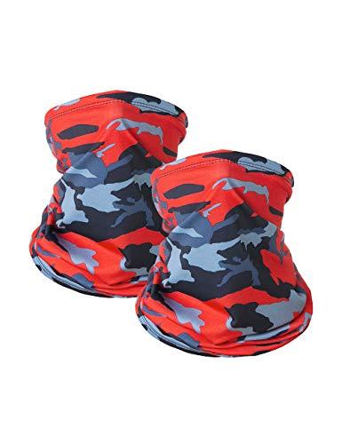 2 PCS AliPlus Neck Gaiter Face Mask Balaclava Summer Cool Breathable Lightweight Men Women Sun UV Protection (Red Camo)