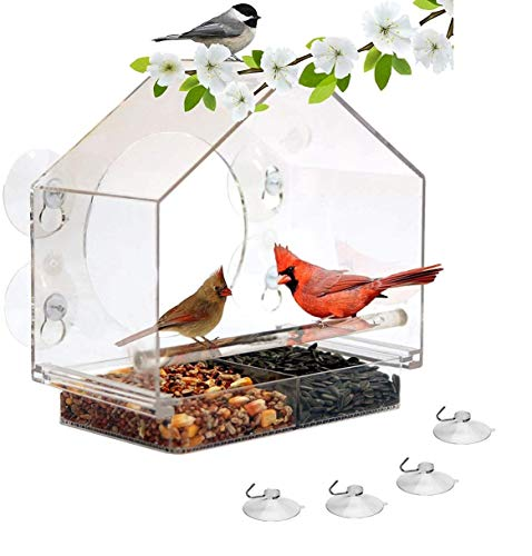 Premium Zone Window Bird House Feeder with 4 Strong Suction Cups Sliding Seed Tray Holder Birdhouse Shape Large Outdoor Birdfeeders for Wild Birds, 4 Extra Suction Cups