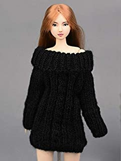 Handmade Knitted Red For Barbie Sweater Dress With Cable Stitch For Barbie Sweater For Barbie Dress For Barbie Top For Barbie Casual Wear