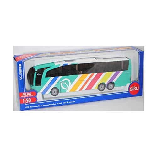 siku 3738001, Mercedes-Benz Travego Reisebus RATP Frankreich, 1:50, Metall/Kunststoff, Multicolor, Öffenbare Türen und Klappe