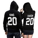 King Queen + Wunschnummer Set 2 Hoodies Pullover Pulli Liebe Love Pärchen Couple Schwarz (King Gr. L + Queen Gr. S)