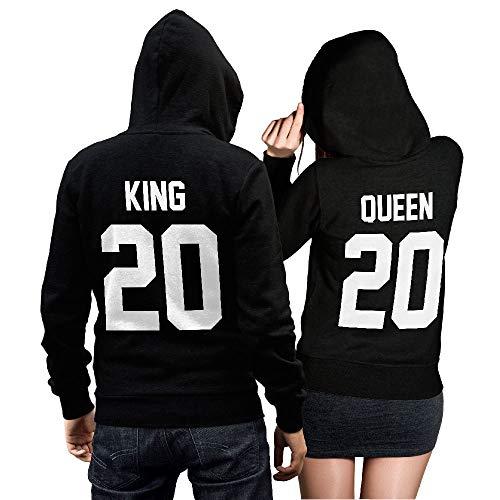 King oder Queen + Wunschnummer Hoodie - Pullover Pulli Liebe Love Pärchen Couple Schwarz - Tolles Pulli Geschenk (King M)
