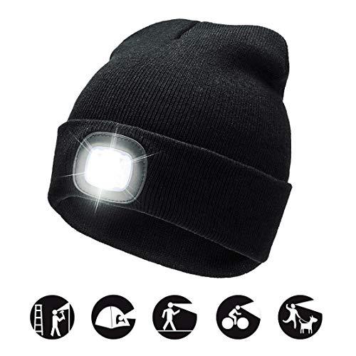 Cappello Uomo Illuminato Berretto LED, Berretto Cappello Unisex a 3 Livelli di luminosit LED Beanie cap
