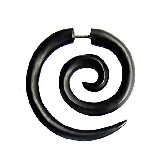 CHICNET Fake Spiral XL pendiente de madera marrón oscuro de acero inoxidable