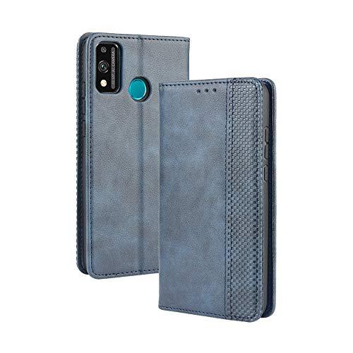 HAOTIAN Hülle für Huawei Honor 9X Lite, Retro Premium PU Leder Flip Schutzhülle, Leder Klapphülle Slim Lederhülle mit Standfunktion und Kartenfach TPU Innenraum Hülle Handyhülle, Blau