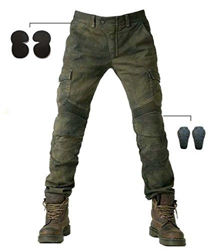 Alpha Rider Männer Motorrad Reithose Denim Jeans Hosen Motorrad Hose mit Schützen Pads Ausrüstung Armee Grün L