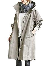 ASARANS トレンチコート スプリングコート レディース コート アウター 秋服 ロング丈 大きいサイズ カジュアル フード付き