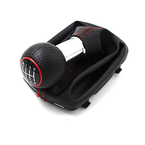 ZPARTNERS Perilla de Cambios para Audi A3 2000-2003 6 Marchas MT Palanca de Cambios en Marcha PU Gaiter Boot Red Ring 12mm