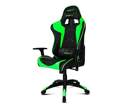 Drift DR300BG - Silla Gaming Profesional, (Polipiel Alta Calidad, Ergonómica), Color Negro/Verde