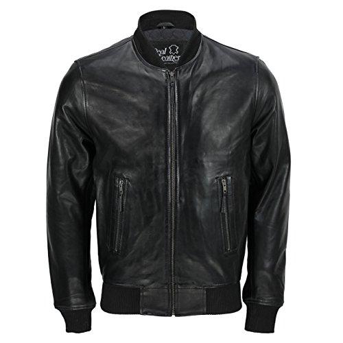 Chaquetas de motociclista estilo bomber para hombre, de piel auténtica, color negro
