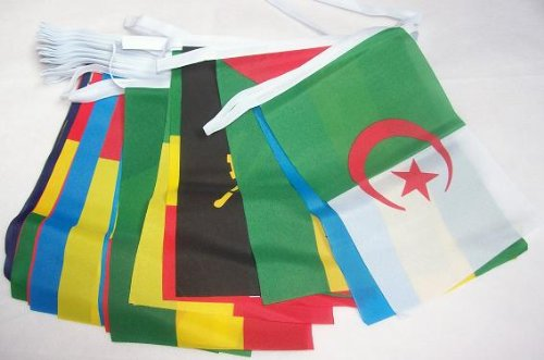 AZ FLAG FAHNENKETTE 54 LÄNDER Afrika 16 Meter mit 54 flaggen 21x14cm- AFRKANISCHE Girlande Flaggenkette 14 x 21 cm
