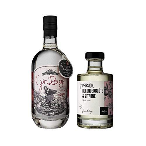 Gin Rouge 0,5l + Tonic Sirup Pfirsich Holunder 0,2l im 2er SET I Wajos