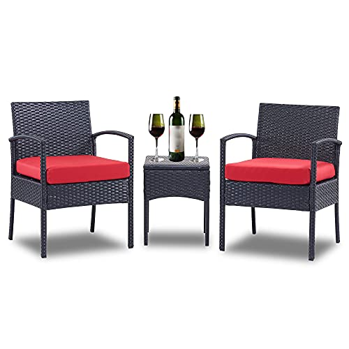 3 Piece Patio Set Balcony Furniture Outdoor Wicker Chair Patio Chairs for Patio, Porch, Backyard, Balcony, Poolside and Garden with Coffe Table and Cushions Red