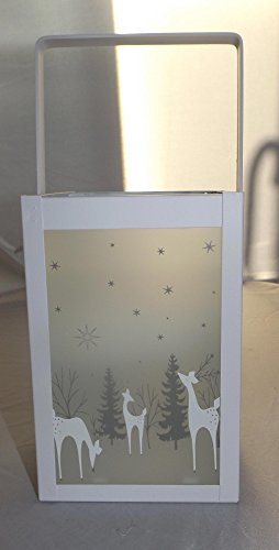 GILDE Laterne Cubus Metall Glas Weiss 24244 Dekoidee