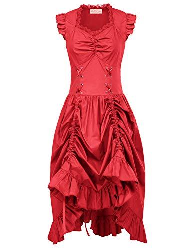 Women Gothic Victorian Pirate Dress Steampunk Costume Red XL