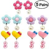 TOYMYTOY Mädchen Ohrclips Clip auf Ohrringe baumeln Ohrringe Zubehör (rosig / lila / Blaue Blumen und rosa / gelbe Herzen) - 5 Paar -