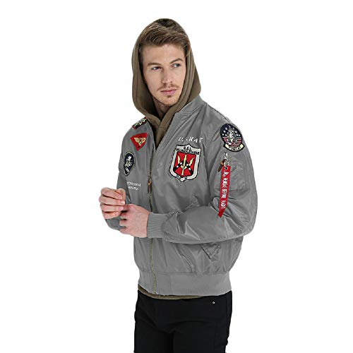 Mens Apollo Space Embroidered Patches Slim Fit Bomber Windbreaker Grey NASA Jacket