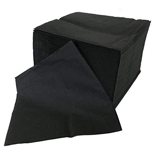 Zellstoff-Servietten zweilagig 24x24 (gefaltet 12x12) - (schwarz) - 100 Stück