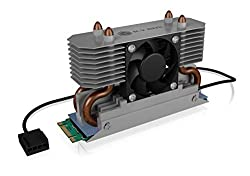 ICY BOX Aluminum Alloy Heatsink with Fan for The Most Heat Dissipation with Silicone Thermal Pad Designed Specially for M.2 SSD 2280 DIY Desktop PC SSD Black
