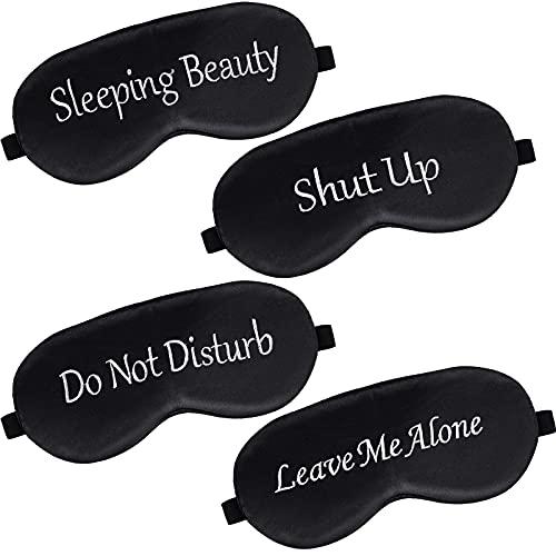 4 Pieces Funny Sleep Silk Mask with Adjustable Strap Soft Blackout Blindfold Sleeping Eye Mask for Women Men Full Night's Sleep, Travel, Nap, Meditation, Blindfold (Black)