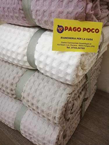 PAGO POCO Steppdecke für alle Jahreszeiten, einfarbig, 100 % Baumwolle, Waffelpiqué, Maxi-Größen 260 x 260 cm, Farben: Weiß, Rosa, Beige, Hellblau.