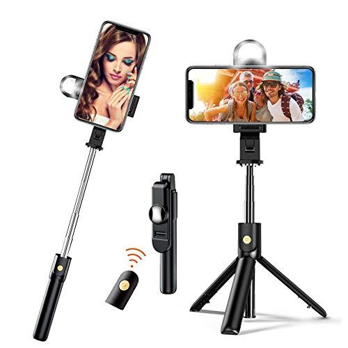 Selfie Stick Stativ mit Licht 4 in 1 Mini Selfiestick mit Bluetooth Fernauslöse Handy Erweiterbarer Selfie Stange und Tragbar Monopod Handyhalter für iPhone Samsung Huawei IOS Android