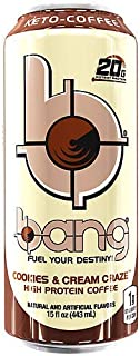 Bang Keto Coffee, Cookies and Cream, 15 Fluid Ounces. (Pack of 8)