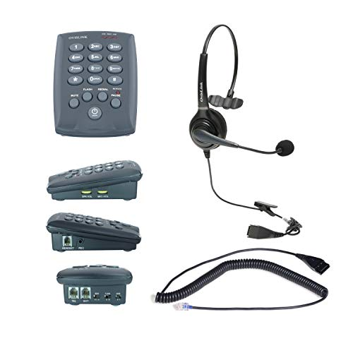 OvisLink Headset Telephone for Call Center | Complete Set Include a Dial Pad Phone a Noise Canceling Single Ear Call Center Headset | Comfortable for All-Day use | Premium Voice Quality |Durable