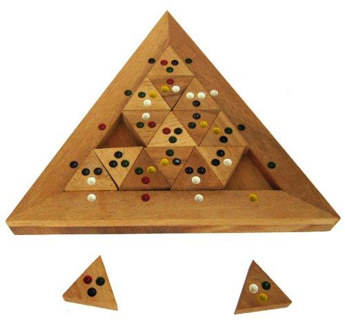 LOGOPLAY Tri-Match - Domino-Puzzle - Legespiel - Denkspiel - Knobelspiel - Geduldspiel - Logikspiel aus Holz