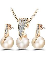 طقم مجوهرات عقد واقراط صمم بشكل حصري للنساء