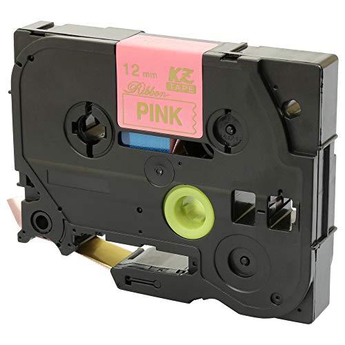TZe-RE34 12mm x 4m Oro su Rosa Nastro in Tessuto compatibile per Brother P-Touch PT-1000 1010 3600 9600 D200 D210/VP D450/VP D600/VP E100 E300VP E550WVP H101C H101GB H105 H110 H200 H300 P700 P750W