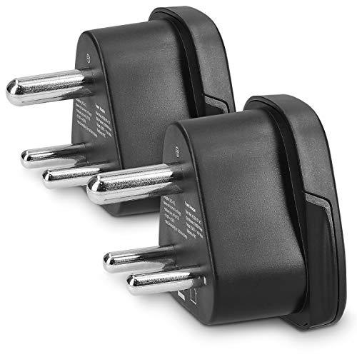 kwmobile 2 Adaptadores de Viaje Tipo D - 2X Adaptador Universal de Enchufe - Conector India Sri Lanka - Conectores de enchufes Color Negro