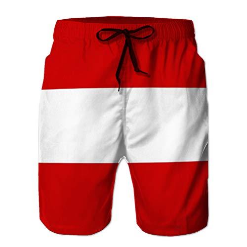 Sports Swim Board Shorts Men's Summer Casual Shorts Austria Flag Perfect Sky