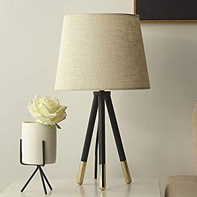 Black Nightstand Tripod Table Lamp With Linen Shade