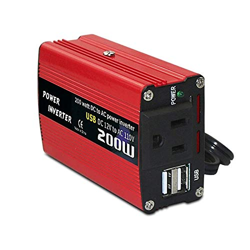 Semoic Inversor de Corriente para AutomóVil de 200 W 12V una 220V Convertidor de CA Puertos de Carga USB 8.3A Adaptador de Cargador de AutomóVil (Rojo)