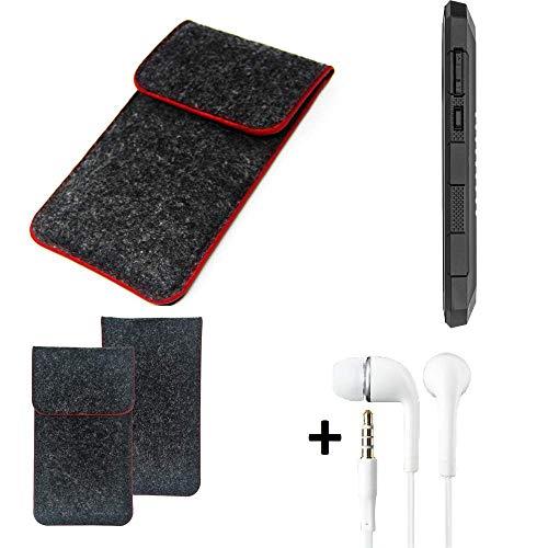 K-S-Trade Handy Schutz Hülle Für Cyrus CS 24 Schutzhülle Handyhülle Filztasche Pouch Tasche Hülle Sleeve Filzhülle Dunkelgrau Roter Rand + Kopfhörer