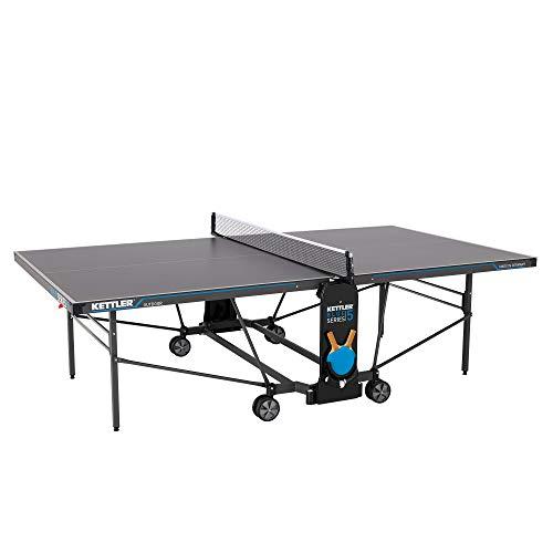 KETTLER K5, Outdoor Profi Tischtennisplatte, Turnierqualität, robuste 5mm Melaminharzplatte mit kratzfester Overlay-Schicht, wetterfest, klappbar, TÜV geprüft