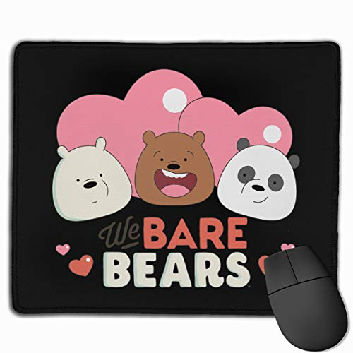 We Bare Bears Mouse Pad for Laptop and Computer Desk Accessories Non-Slip Stitched Edges Waterproof (25 30)