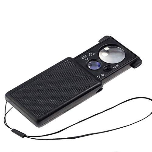 Vidrio de cajón portátil con luces LED, 30X + 60X, lupa iluminada de 2 lentes de alta claridad, con luz violeta, para identificación de joyas, fabricación de impresión, apreciación de antigüedades