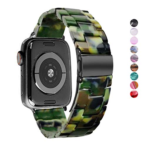 DEALELE Compatible con iWatch Band 38mm 42mm 40mm 44mm, Reemplazo de Correa de Resina Colorida para Apple Watch Series 5/4 / 3 Mujer Hombres, Camuflaje Verde, 38mm/40mm