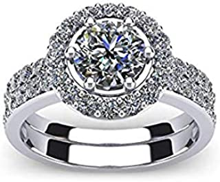 Diamond Engagement Ring for women – 14k White Gold Halo Diamond Engagement Ring- Diamond Ring in White Gold – AGS Certifie...