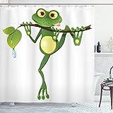 ABAKUHAUS Tier Duschvorhang, Frosch auf Zweig Dschungel, Wasser Blickdicht inkl.12 Ringe Langhaltig Bakterie & Schimmel Resistent, 175 x 200 cm, Grün Weiß